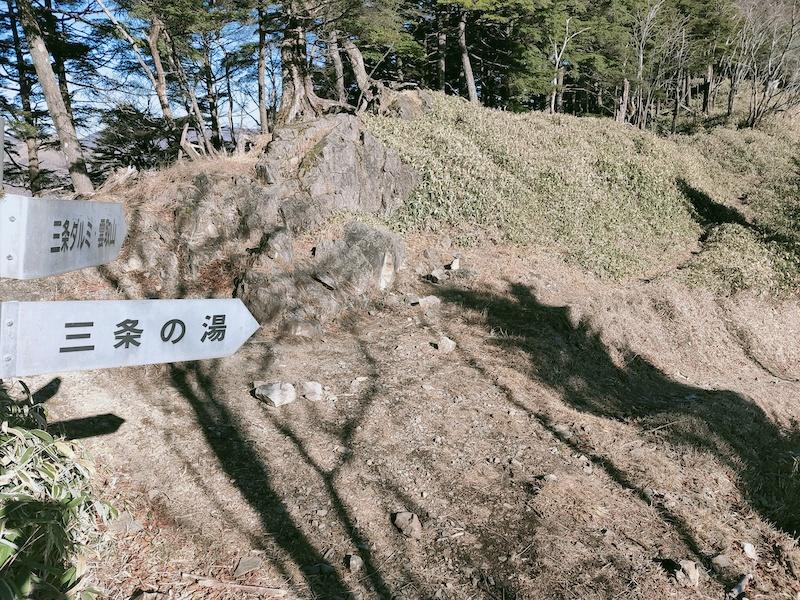 雲取山と三条の湯の分岐