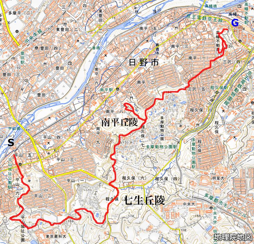 七生丘陵コースマップ