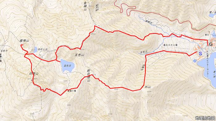 日光白根山ルートマップ